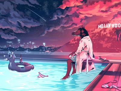 Gallery 1988 la celebrity pool digital illustration hollywood landscape horse tv cinematic