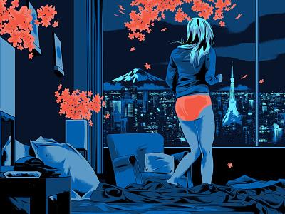 Gallery 1988 interior flowers cityscape tokyo girl digital graphic illustration film poster