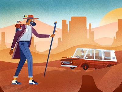Desert Wanderer desert journey narrative adventure car texture graphic illustration landscape character