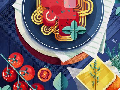 Barilla maite franchi digital texture graphic folio illustration meal food pasta