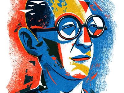 Le Corbusier man glasses face graphic colour geometric illustration digital modern art portrait