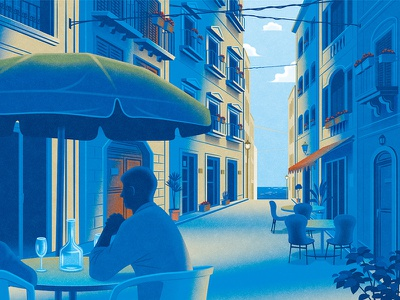 Amazon Kindle travel publishing book narrative architecture street person texture digital illustration