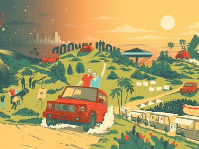 Continuum transport travel hollywood car landscape digital graphic illustration advertising