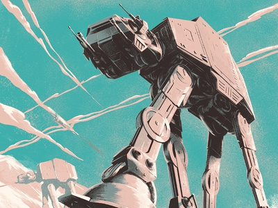 Star Wars screenprint graphic landscape cinema star wars scifi illustration poster film