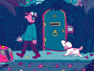 Dog Walk autumn digital illustration music nature fluorescent line character walk dog
