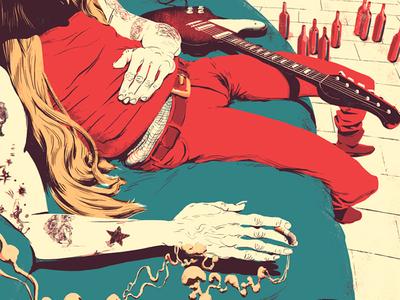 Johnny Winter graphic digital illustration celebrity portrait guitar smoke