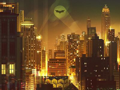 Gotham City digital illustration night character light buildings city cityscape fantasy batman
