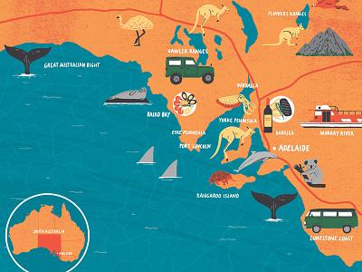 South Australia editorial travel animals digital illustration australia map