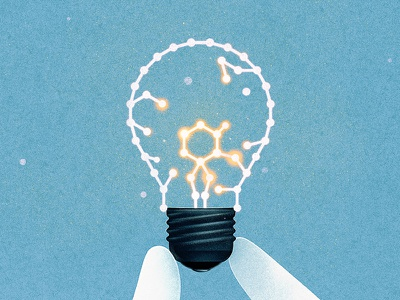 Scientific Discovery glow texture illustration conceptual editorial research science bulb