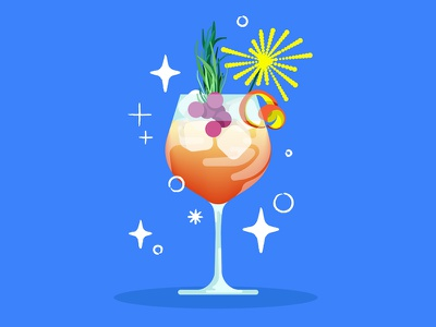 Cocktail graphic sparkles colourful fruity illustration vector cocktail drink