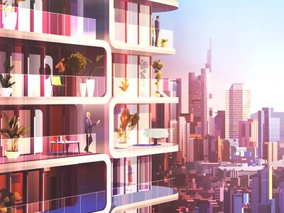 Skyscraper urban building graphic skyscraper city flats illustration architecture