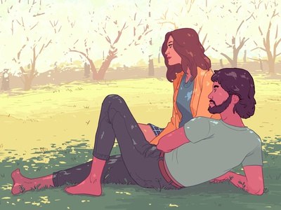Coming Home editorial narrative sunny digital illustration date park couple characters
