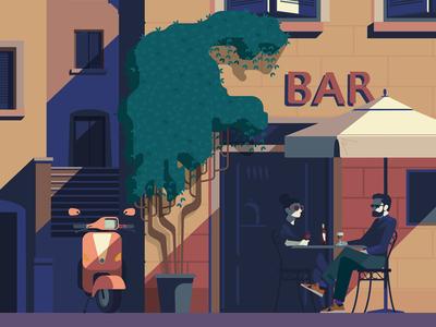 Rome bar italy digital character vector illustration vespa travel