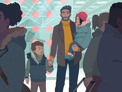 Coming Home narrative editorial people digital airport illustration family character