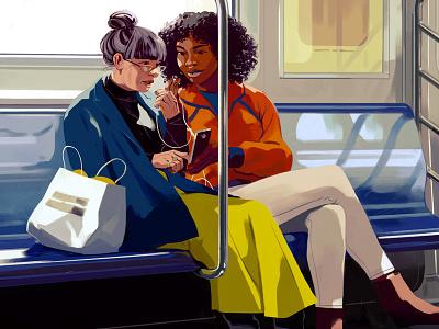 Podcasts transport digital figurative women people illustration subway