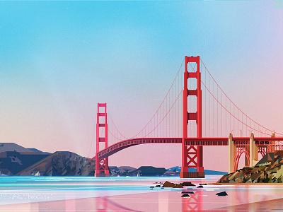 Golden Gate Bridge travel bridge river reflection illustration digital landscape architecture