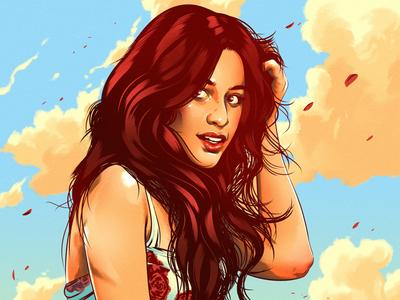 Camila Cabello fashion landscape woman pin up digital graphic illustration portrait