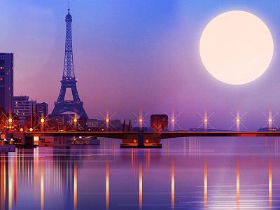Paris illustration digital glitch art graphic night reflection cityscape moon eiffel tower landscape paris
