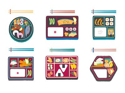 Bento colourful japan vector digital graphic illustration food