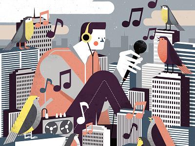 Birding buildings digital illustration city character editorial conceptual birds music