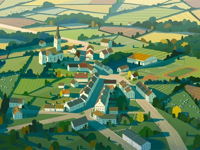 Welsh Town countryside wales advertising buildings agriculture illustration digital painting village landscape