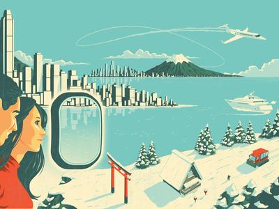 Continuum asia snow landscape plane people portrait illustration travel