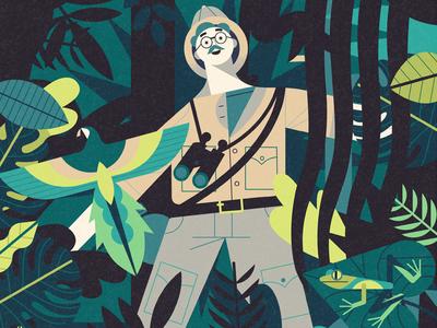 Explorer cover magazine editorial digital illustration animals nature jungle character explorer