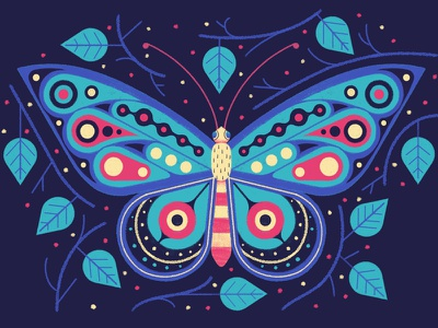 Butterfly nature digital leaves insect animal decorative illustration pattern butterfly