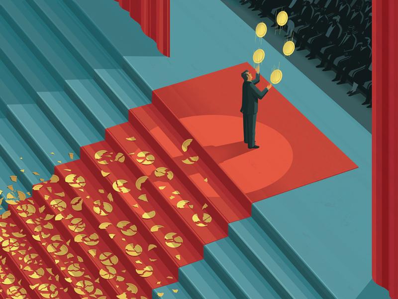 Key to Success character juggling editorial conceptual illustration digital