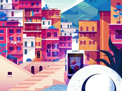 Snapshot of Italy summer graphic colourful dog buildings holiday travel illustration digital