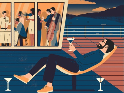 Cruise digital illustration travel boat music martini drink character people editorial