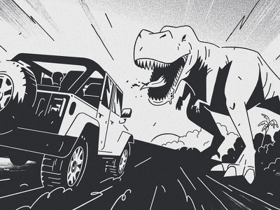 Jeep line transport car dinosaur t-rex illustration bw graphic storyboard