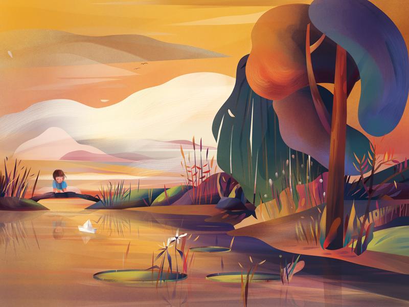 Pay Me In Light autumn colour texture child reflection landscape illustration digital