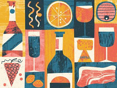British Booze food wine pattern texture digital illustration editorial drink