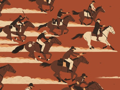 Godless digital illustration netflix american tv weapons people character horse cowboy