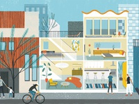 Sam kalda folio illustration editorial architecture enroute magazine oasis house