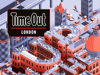 Muti folio illustration editorial buildings urban architecture time out london rooftop issue