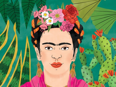 Frida Kahlo cover magazine editorial portrait floral colourful nature watercolour digital illustration