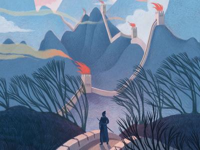China folioart mercedesdebellard scene landscape editorial china illustration painterly