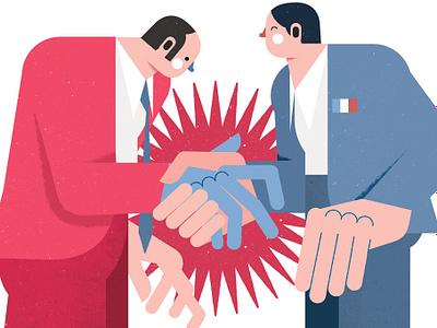 Modern World france shakehands gqfrance tiagogalo illustration editorial modernworld
