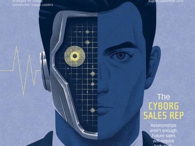 Cyborg Sales Rep illustration kouzousakai magazine cover editorial art robot cyborg editorial scifi