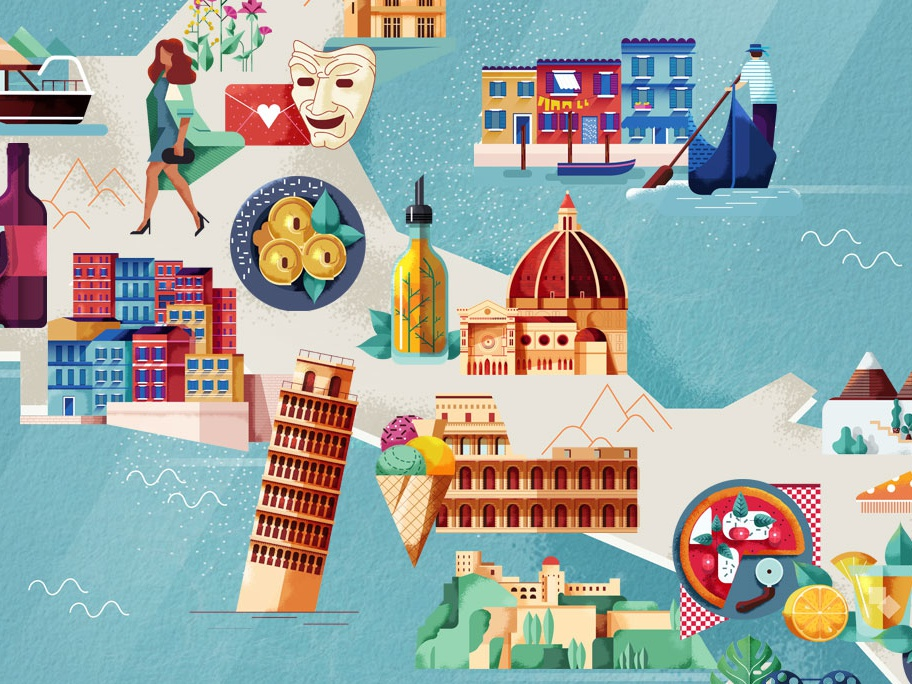Map Of Italy By Folio Illustration Agency On Dribbble