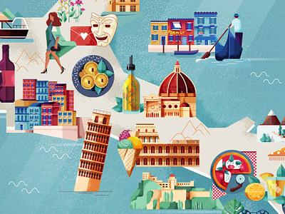 Map of Italy folioartists folioart vacation holidays leisure travel food pizza maitefranchi gondola leaningtowerofpisa illustratedmap map italy