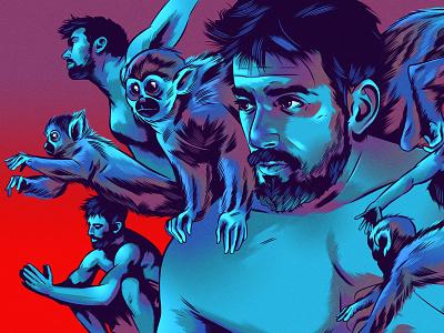 Ido Portal alexanderwells figurative monkey folioart character editorial digital illustration