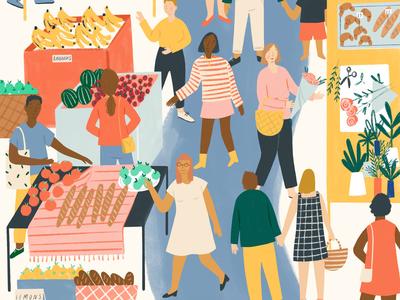 Local Market local sustainable ameliaflower food people folioart character digital illustration