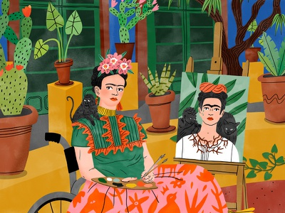Frida Kahlo childrens character folioart book publishing portrait plants botanical painting digital editorial illustration