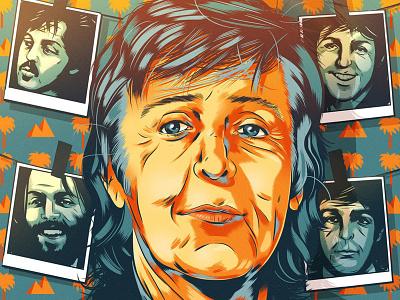 Paul McCartney folioart beatles retro portrait editorial digital illustration