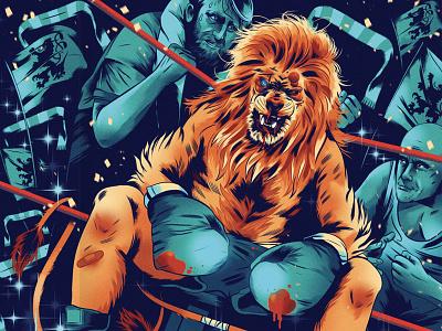 1860 Munich wells alexander sport boxing lion folioart character graphic illustration digital editorial