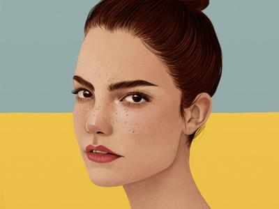 Claire Laffut folioart debellard mercedes woman portrait realist digital drawn editorial illustration