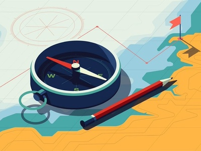 Investment conceptual finance map compass greenwood peter folioart vector digital illustration